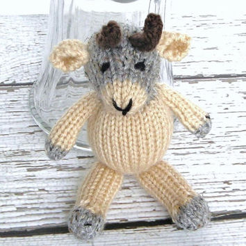 "Hand Knitted Goat - Ready To Ship - Little Stuffed Animal - Farm Nursery Knit Toy - Baby Gift - Newborn Photo Prop Stuffed Goat 7 3/4"" Tall"