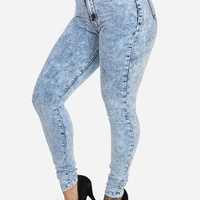 High Rise Skinny Jeans with Flat Front (Light Acid Wash)