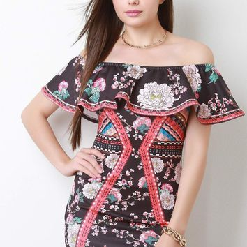 Cherry Blossom Flutter Bardot Bodycon Dress