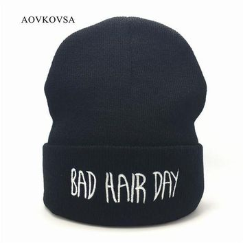 VONG2W AOVKOVSA Bad Hair Day Winter Men Knitted Hat 2017 Fashion Casual Gorros Elastic Bonnet Skullies Women Beanies Cap