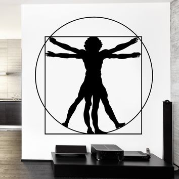 Wall Vinyl Decal Lenardo Da Vinci Itlaly Italian Virtuivian Man Decor Unique Gift z3717