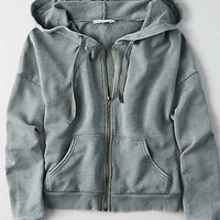 AEO Terry Zip-Up Sweatshirt , Pine