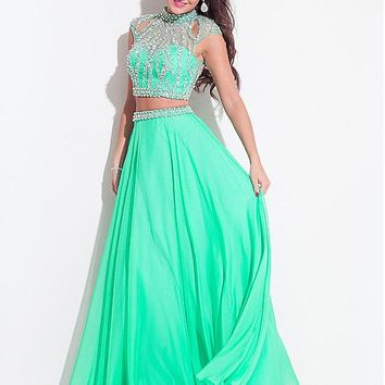 [138.99] Lavish Tulle & Beads High Collar A-Line Two-piece Prom Dresses With Beads & Rhinestones - dressilyme.com