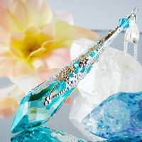 Swarovski Crystal Pendulum Necklace Antique Green (Teal) 18 or 24 Inch Silver Chain