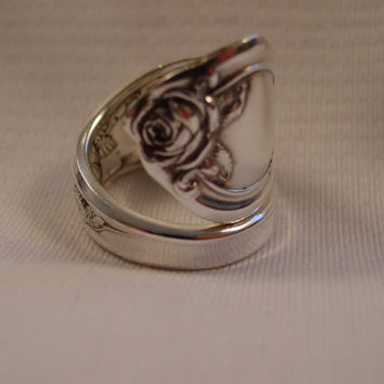 A Spoon Rings Plus GORGEOUS Spoon Ring With Roses Size 9 Handmade Spoon and Fork Jewelry t526