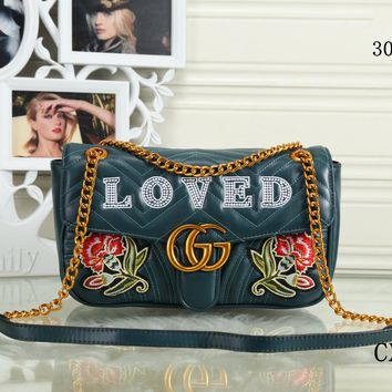 GUCCI 2018 new trend female models shoulder bag Messenger bag chain bag green