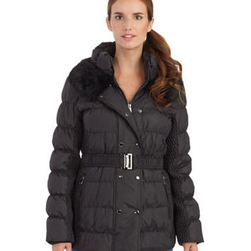 Via Spiga Quilted Puffer Coat with Fur Collar