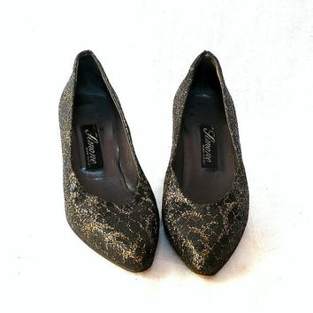 SIMONE French Vintage Lace Covered Leather High Heels by bOmode