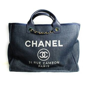 [CHANEL] 2014P Deauville Canvas Large Tote Bag