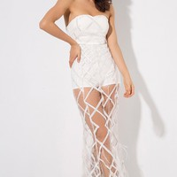 Turn Back Time White Sheer Mesh Diamond Geometric Pattern Sequin Feather Strapless Maxi Dress