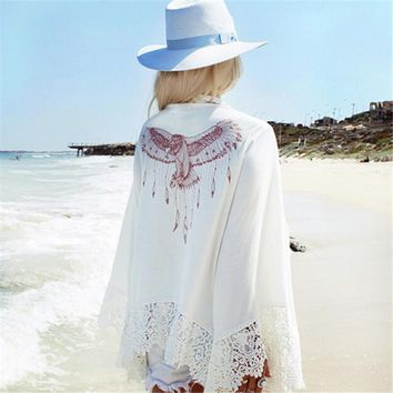 Summer Style Women Fashion Eagle Print Kimono Shirts Lace Crochet Long Sleeve Loose Cardigan Beach Cover Up Shawl Outwear