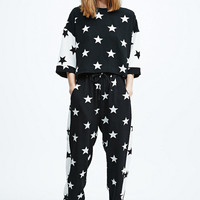 Pippa Lynn Star Print Contrast Joggers in Black - Urban Outfitters