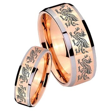 His Hers Rose Gold Beveled Multiple Dragon 2 Tone Tungsten Wedding Rings Set