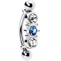Silver 925 Top Down L. Blue Austrian Crystal Eyebrow Ring | Body Candy Body Jewelry