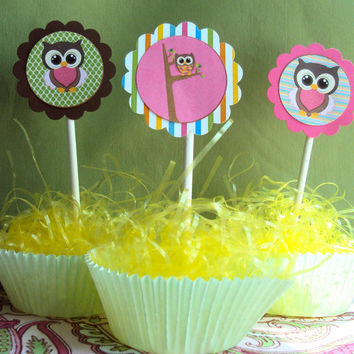Owl Cupcake Toppers , Cupcake toppers