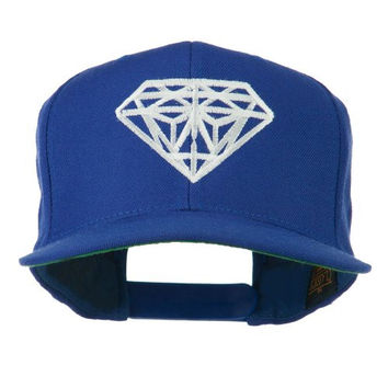 Big Diamond Embroidered Flat Bill Cap - Royal OSFM