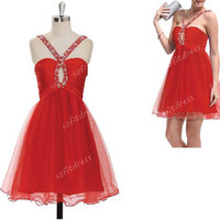 sexy prom dress, red prom dresses, A line prom dress, red bridesmaid dress, cocktaildress, BE043