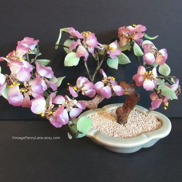 Vintage Glass Pink Blossom Oriental Tree in Ceramic Pot, Decorative Sculpture