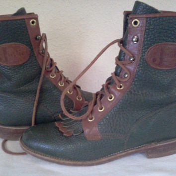 Mens Leather Lacer Boots by Justin Size 6B