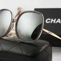 Chanel Popular Ladies Elegant Logo Letter Summer Sun Shades Eyeglasses Glasses Sunglasses Silver I-A-SDYJ