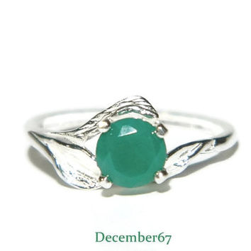 Leaf Ring, Emerald Ring, Natural Green Onyx Ring, 1 Carat Promise Ring, Sterling Silver May Birthstone