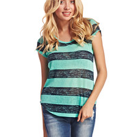 Rugby Striped Slub Tee | Wet Seal