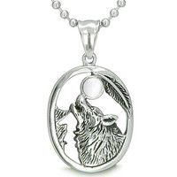 Amulet Courage Howling Wolf Snow White Cats Eye Pendant 22 Inch Necklace