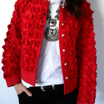 Textured Avant Garde Red Quilted Bolero Jacket