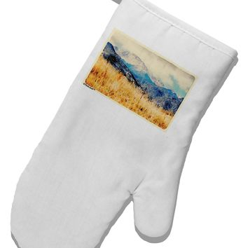 Pikes Peak Mountains Watercolor White Printed Fabric Oven Mitt by TooLoud