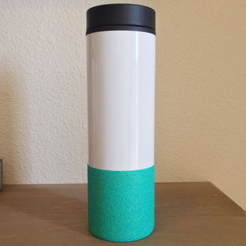 Ready To Ship Mint Glitter Dipped, Custom Design, Stainless Steel To-Go Coffee Tumbler