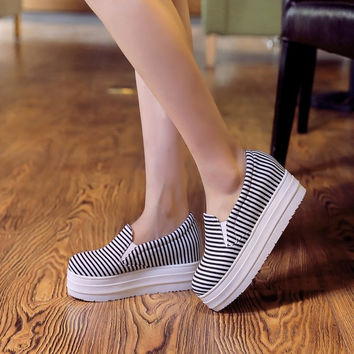 Round Toe Stripe Loafers Platform Shoes 2096