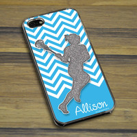 Lacrosse iPhone/Galaxy Case Personalized Faux Glitter Chevron Pattern | Lacrosse Phone Cases | Lacrosse iPhone 4/4S Cases | Lacrosse iPhone 5/5S Cases | Lacrosse Galaxy S3 Cases | Lacrosse Galaxy S4 Cases