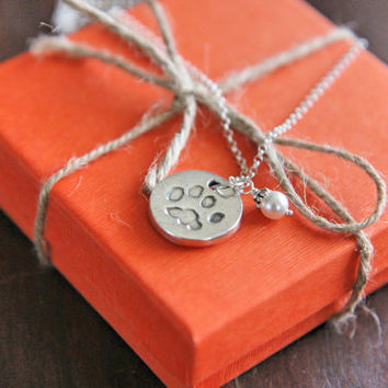 Custom Pawprint Pendant Necklace