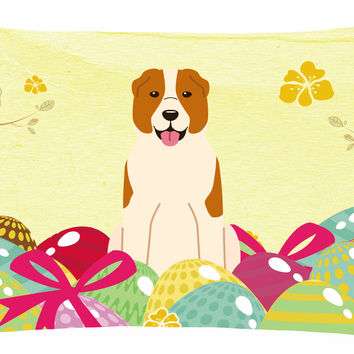 Easter Eggs Central Asian Shepherd Dog Canvas Fabric Decorative Pillow BB6049PW1216