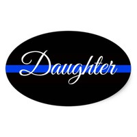 DAUGHTER POLICE OFFICER OVAL BUMPER STICKER