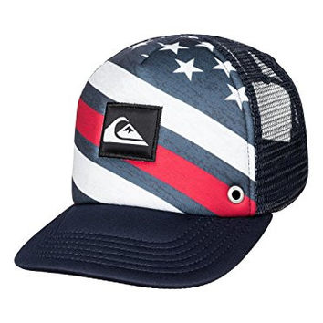 Quiksilver Baby Boardies Trucker Hat Merican Stripe 1SZ and HDO Travel Sunscreen (15 SPF) Spray Bundle