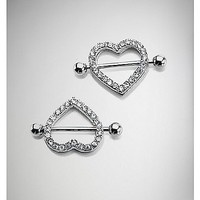 Heart CZ Nipple Shields - 14 Gauge - Spencer's