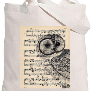 Eco-friendly 100% Organic Cotton Iron On Transfer Tote Bag  Natural Bag Vintage Music Note Sheet with Owl Bird