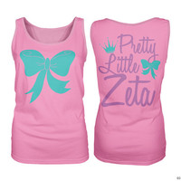 ZTA Zeta Tau Alpha Pretty Little Zeta Bow Sorority Tank