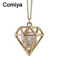 Comiya fashion designed imitation diamond pendant necklace vintage necklaces women crystal decoration sailor moon accessories