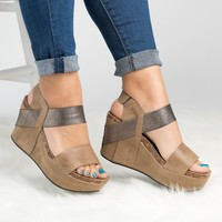 Double Band Platform Wedges - Nude