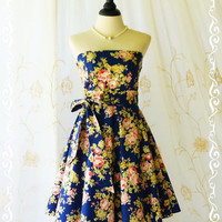 My Lady III Spring Summer Sundress Gorgeous Floral Strapless Dress Navy Dress Floral Navy Bridesmaid Dress Floral Party Dress XS-XL
