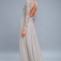 Awaken My Love Light Grey Long Sleeve Lace Maxi Dress