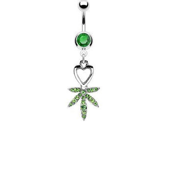 Heart and Gem Pave Pot Leaf 14g Navel Dangle Belly Ring