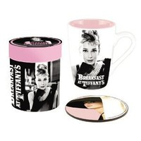 Vandor 92061 Audrey Hepburn Ceramic Mug and Coaster Gift Set, Black/White/Pink