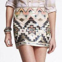 SEQUIN EMBELLISHED MINI SKIRT at Express