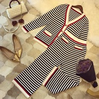 """Gucci"" Women Temperament Casual Fashion Multicolor Stripe V-Neck Long Sleeve Knit Cardigan Wide Leg Pants Set Two-Piece"