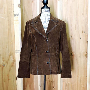 Wilsons leather jacket  M / L / 90s western brown suede jacket /  Wilsons Leather coat