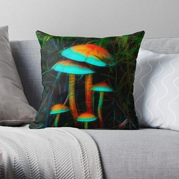 Decorative original pillow case Psychedelic Mushrooms accent pillow Throw pillow cover Nature photography pillow case Art Photography pillow