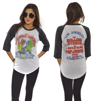 Vintage 80s The Rolling Stones Tattoo You Tour Los Angeles with PRINCE Raglan Jersey T Shirt Sz M